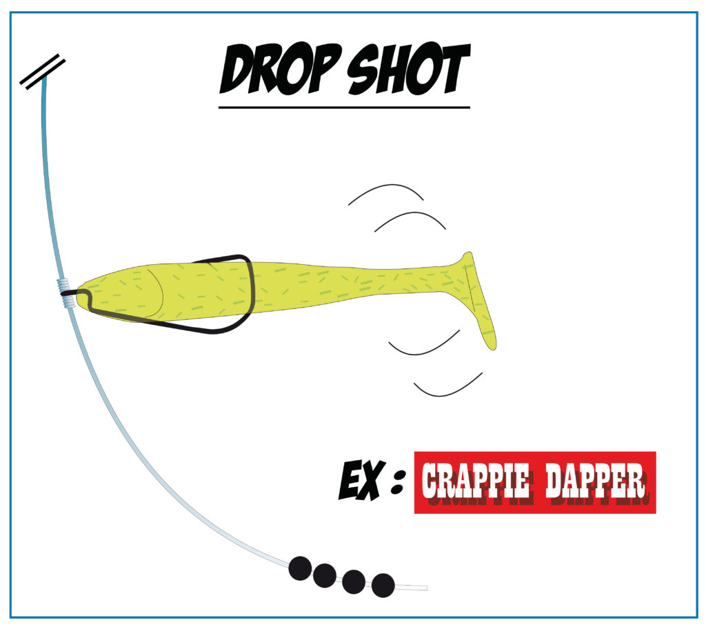 Drop shot texas rig avec un Crappie Dapper Bass Assassin
