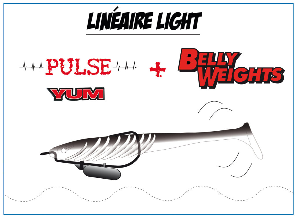 Pulse Yum monté en texan avec un Belly Weight Lunker City sur la hampe