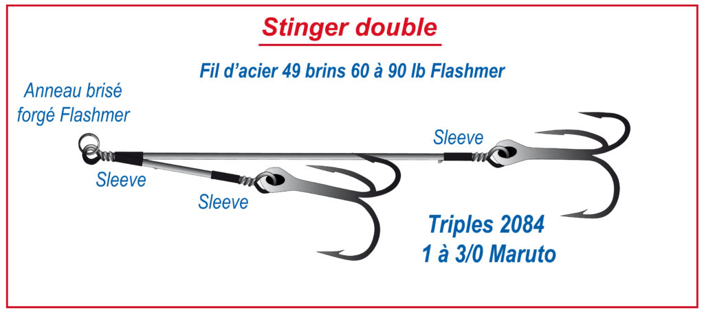 Éléments d'un stinger double pour un montage Screw rig