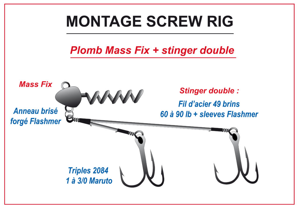 Tête Mass Fix avec un stinger double en montage Screw Rig